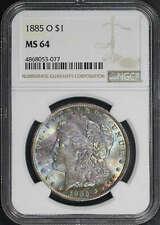 1885-O Morgan Dollar NGC MS-64 Rainbow Obverse
