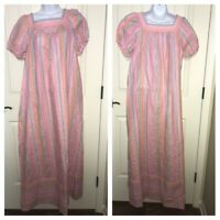 VTG Tiffany LoungeWear Striped Floral House Dress Gown Mumu Kaftan Sz MEDIUM EUC
