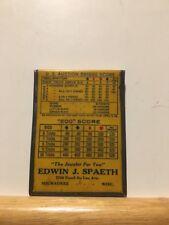 Edwin J Spaeth The Jewelers For You Milwaukee Wisconsin Bridge Score Card