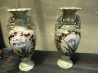 Pair of Antique Japanese Hand Painted Vases Featuring Irises and Cloisonne