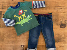 Baby Boy 9-12 months NUTMEG Animals Crocodile Long Sleeve top Jeans Outfit Set
