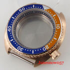 New Brushed Rose Gold Coated 45mm Watch Case fit NH35A NH36A Sapphire