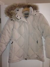 Pacific Trail Beige Raccoon FUR Hooded DOWN Quilted Puffy Snow Jacket Coat M