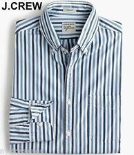 New J.CREW shirt button front stripe light blue navy white up down striped S NWT