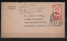 BOLIVIA 1925 COVER PRESIDENT SAAVEDRA 15 CENTS BROWN LA PAZ TO WASHINGTON