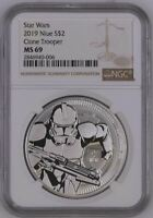 2019 NIUE 1 OZ $2 STAR WARS - CLONE TROOPER - SILVER COIN -  NGC MS69