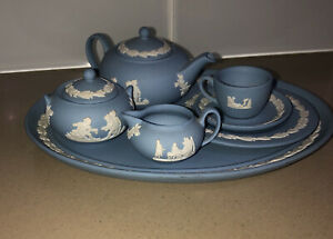 ❤️Wedgewood Jasperware Tea Set Blue 9 Piece Set