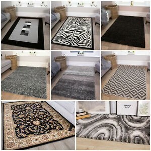 Modern Black Rugs Small Large Geometric Rug Soft Easy Clean Living Room Area Mat