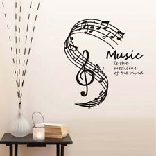 Music Is The Medicine Of The Mind Wall Stickers Musical Notes Stave Home Decor