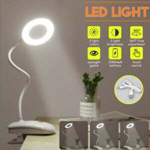 LED USB Clip On Flexible Desk Lamp Dimmable Memory Bed Reading Table Study Light