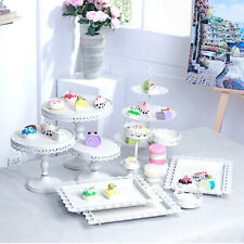 12Pcs Set Crystal Metal White Cake Holder Cupcake Stand Wedding Party