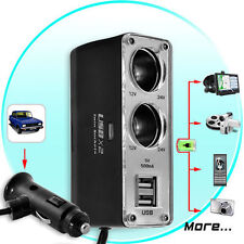 Car Power Splitter Charger Hub (Dual 500mA USB Ports, Dual Cigarette) 2 Socket