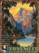 Yosemite National Park Metal Sign, Rustic American Wilderness, Vintage Den Decor