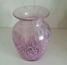 Vintage Australian Handblown Studio Art Glass Vase Jam Factory 80s Pink &White