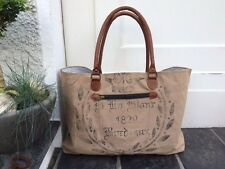 Strandtasche Vintage Shopper Canvas Leder Segeltuch Recycling Tasche Badetasche