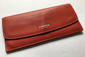 Coach Legacy Red Leather Slim Envelope Card Case Wallet