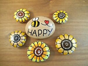 Hand painted rocks, stones, pebbles. Bee happy and set of sunflowers,unique gift