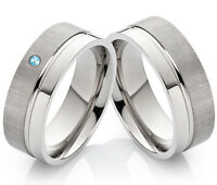 Eheringe Trauringe Partnerringe aus Titan mit echtem Topas Ring Gravur H001