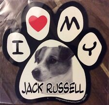 Picture Paws   Dog Paw Shaped Magnets: I Love My Jack Russell   Car Magnet
