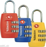 Sterling 26mm 3-Dial Combination Padlock - Ideal for Luggage - Assorted Colours