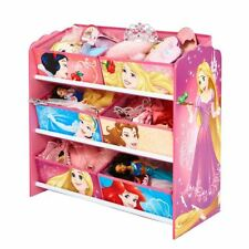 DISNEY PRINCESS 6 BIN STORAGE UNIT CHILDRENS ARIEL RAPUNZEL PINK BLUE