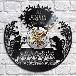 Alice in Wonderland Clock Decorations Decor Art Gift Vinyl Record Wall Clock