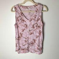 Lucy & Lauren Women's Sleeveless Top Size Medium Floral Pink Maroon Brown Linen