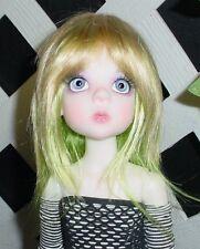 "Doll Wig, Monique Gold ""Jojo"" Size 8/9 Golden Blonde w Lime Green"