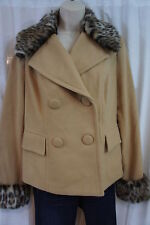 "INC Winter Coat Sz M Camel Faux Fur Leopard Print Trim""Nostalgia"" Outerwear"