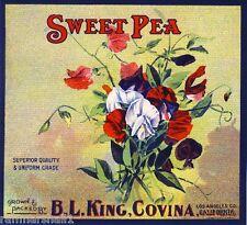 Covina California Sweet Pea Flowers Orange Citrus Fruit Crate Label Art Print