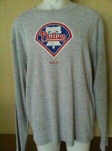 Philadelphia Phillies MENS Long Sleeve Thermal Shirt Gray Reebok NWT