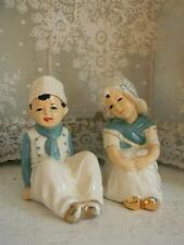 Large Vintage Sitting Pr. Dutch Boy & Girl Piano Figurines~Hand Painted