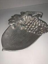 "Mariposa Pewter Acorn Bowl Dish Tray Silver-tone Stamped 8""x 6""x 1.5"""
