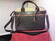 Retro FOSSIL KEY PER Laptop Attaché Messenger Bag Briefcase Brown Quilted Canvas