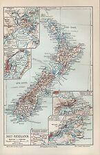 Landkarte map 1907, Neuseeland. OCEANIEN Australien Auckland Wellington Dunedin