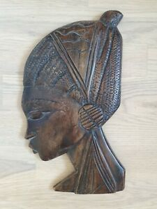 wunderschöne afrikanische Schnitzerei Holz Frau 32 cm Wandmaske Afrika