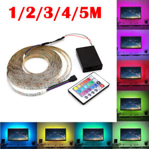 5M LED Strip Lights RGB Colour Changing Under Cabinet Kitchen TV Lighting Remote