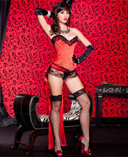 New Three Pieces Corset Set Oversize Satin Bow Train and G-String Small