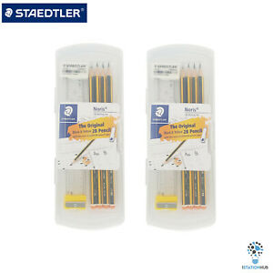 Staedtler Noris 120 Pencils 2B Writing|Eraser Ruler Sharpener Pencil Cap |2 Sets