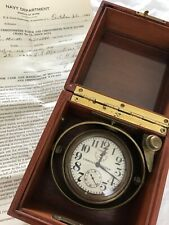 1943 Wwii Zenith 8 Day Marine Navy Torpedo Ship Deck Chronometer & Paperwork