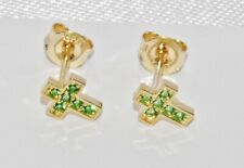 9ct Gold Emerald Cross Stud Earrings - NEW - Solid 9K Gold