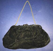 Black Velvet Vintage Clutch Purse