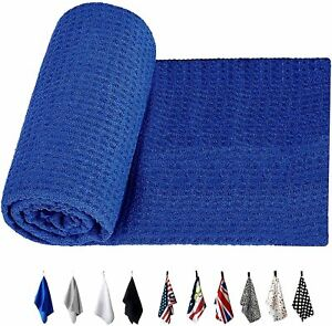 Golf Towel With Clip 14''x42'' Microfiber Soft Fabric Tri-Fold Cleaning Waffle