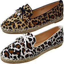 Kelsi  Ladies Canvas Pumps  Animal Leopard Print Espadrilles Flat Fashion Shoes