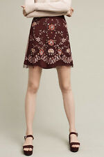 NWT - ANTHROPOLOGIE - RANNA GILL - Regal Embroidered Mini Skirt XS (Plum) $198