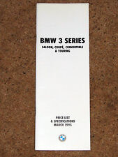 1995 BMW 3 SERIES PRICE LIST & SPECIFICATIONS - M3 Coupe Conv Saloon Touring