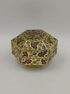 Chinese Cloisonne Enamel Hexagonal Lidded Box, 20th C