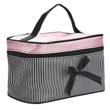 Women's Fashion Square Bow Stripe Cosmetic Bag Fashion Waterproof Makeup case UK