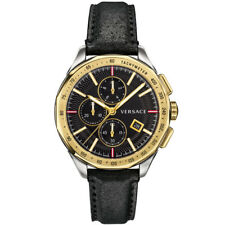Versace VEBJ00218 Glaze Chronograph silver gold black Leather Men's Watch NEW