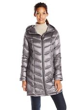 CALVIN KLEIN PACKABLE QUILTED HOODED DOWN PUFFER COAT WOMENS S NWT SHINY GRAY